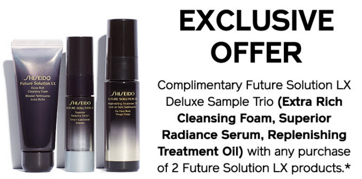 Receive a free 3-piece bonus gift with your 2 Future Solution LX products purchase