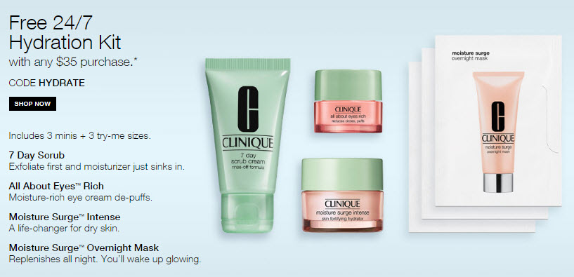 Receive a free 6-piece bonus gift with your $35 Clinique purchase