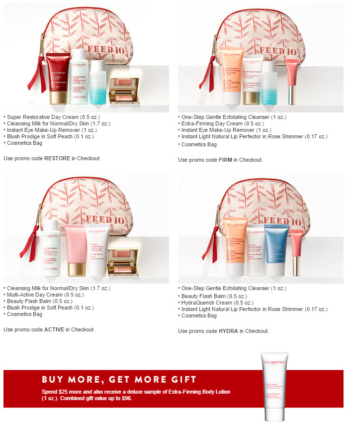 Receive a free 5-piece bonus gift with your $ Clarins purchase