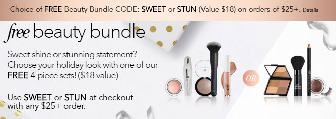 Receive your choice of 5-piece bonus gift with your $25 e.l.f. purchase