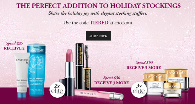 Receive a free 5-piece bonus gift with your $50 Lancôme purchase