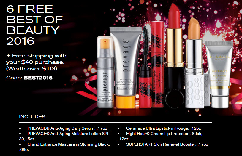 Receive a free 6-piece bonus gift with your $40 Elizabeth Arden purchase