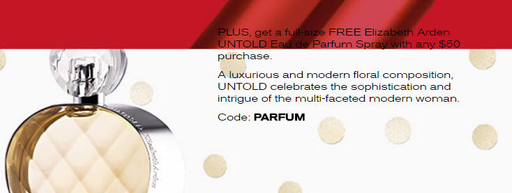 Receive a free 5-piece bonus gift with your $50 Elizabeth Arden purchase