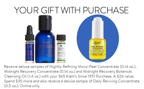 Receive a free 4-piece bonus gift with your $100 Kiehl's purchase