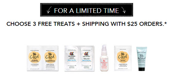 Receive a free 3-piece bonus gift with your $25 Bumble and bumble purchase