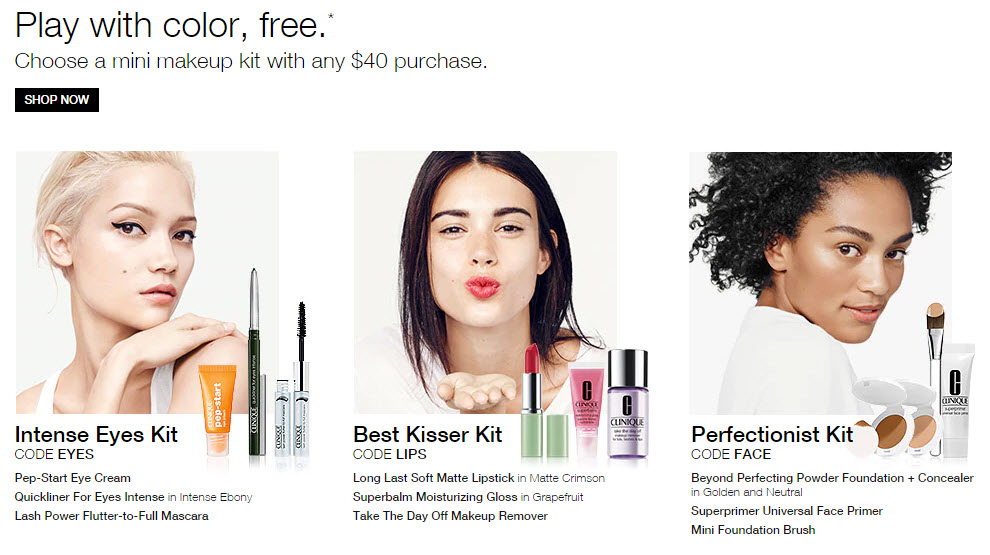 Receive your choice of 3-piece bonus gift with your $40 Clinique purchase