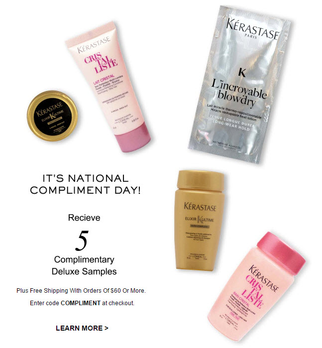 Receive a free 5- piece bonus gift with your $60 Kerastase purchase