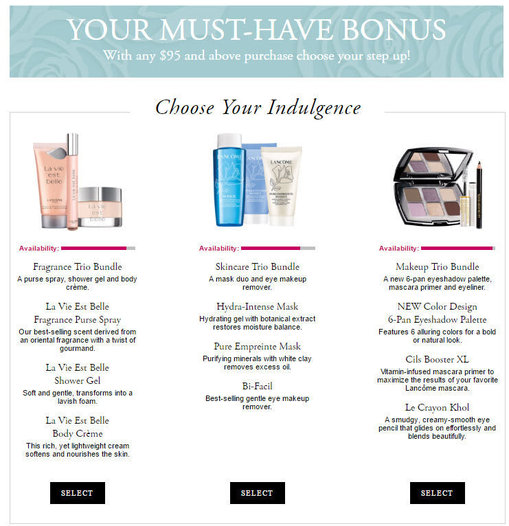 Receive your choice of 10-piece bonus gift with your $95 Lancôme purchase