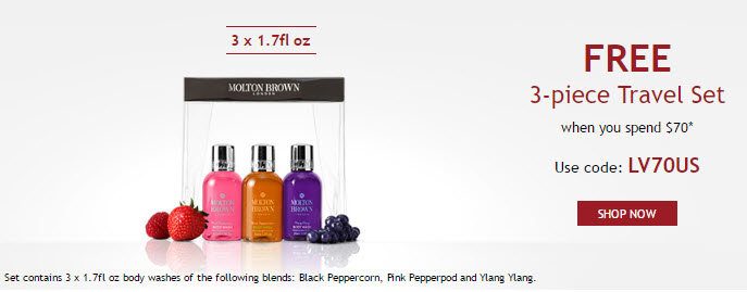 Receive a free 3-piece bonus gift with your $70 Molton Brown purchase