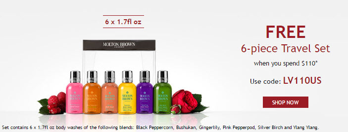 Receive a free 6-piece bonus gift with your $110 Molton Brown purchase