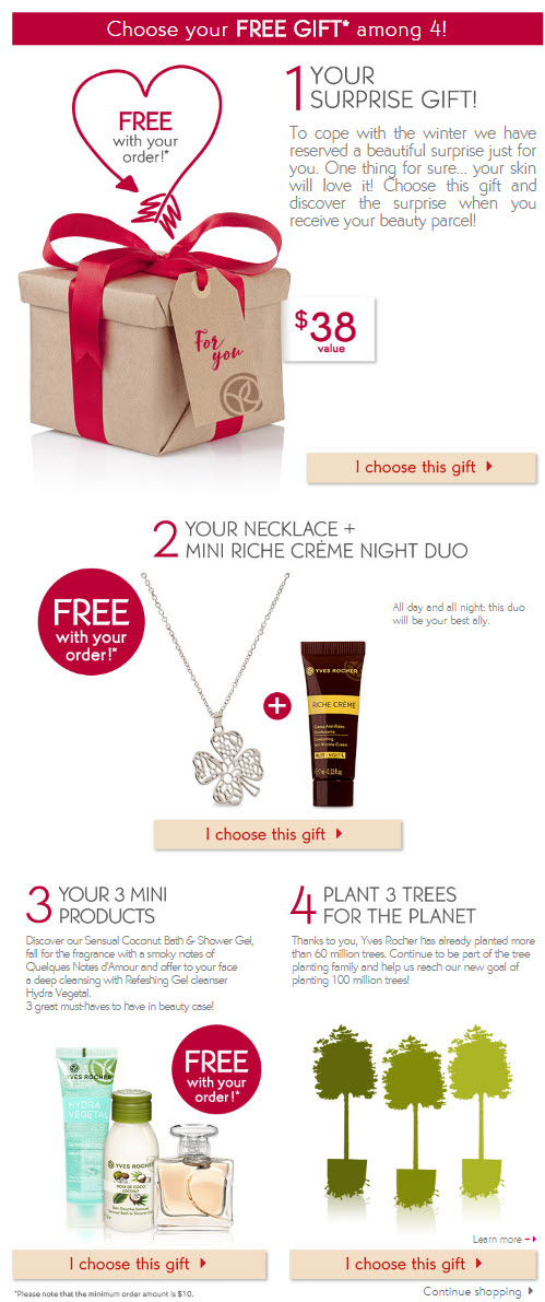 Receive your choice of 3-piece bonus gift with your $10 Yves Rocher purchase