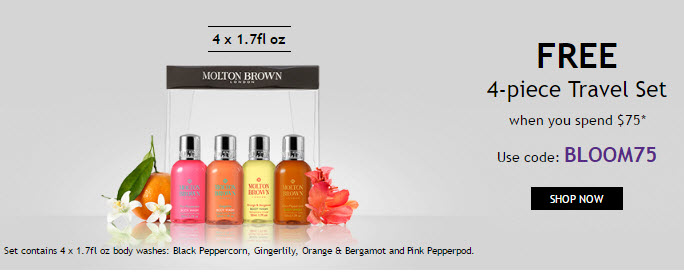 Receive a free 4-piece bonus gift with your $75 Molton Brown purchase