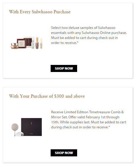 Receive your choice of 4-piece bonus gift with your $300 Sulwhasoo purchase