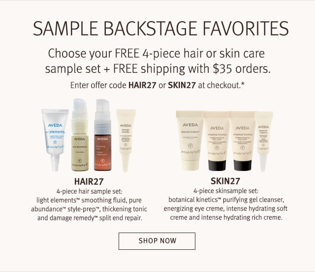 Receive your choice of 4-piece bonus gift with your $35 Aveda purchase