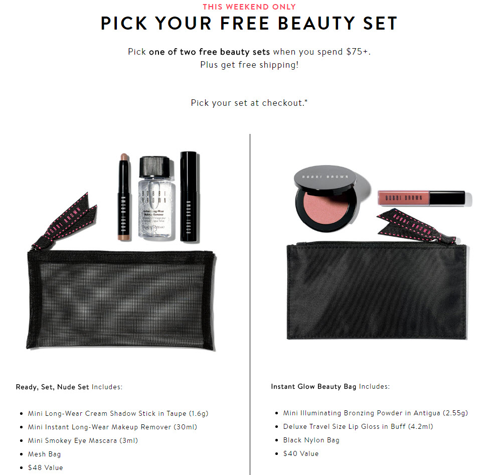 Receive your choice of 4-piece bonus gift with your $75 Bobbi Brown purchase