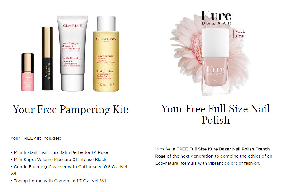Receive a free 5-piece bonus gift with your $100 Clarins purchase
