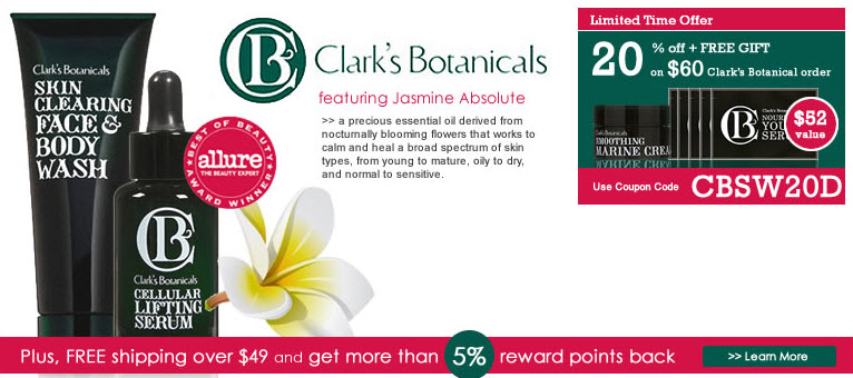 Receive a free 3-piece bonus gift with your $60 Clark's Botanicals purchase