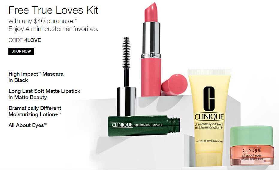 Receive a free 4-piece bonus gift with your $40 Clinique purchase