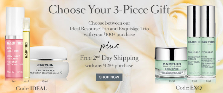Receive your choice of 3-piece bonus gift with your $100 Darphin purchase