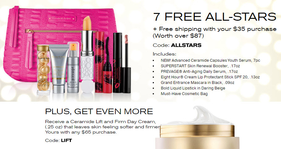 Receive a free 7-piece bonus gift with your $35 Elizabeth Arden purchase