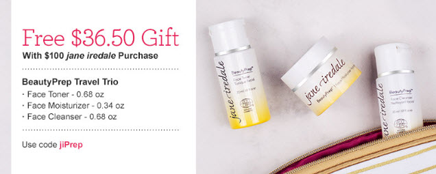 Receive a free 3-piece bonus gift with your $100 Jane Iredale purchase