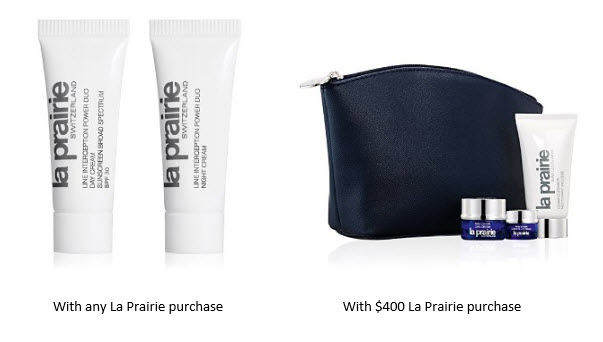 Receive a free 6-piece bonus gift with your $400 La Prairie purchase