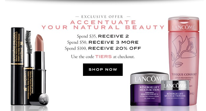 Receive your choice of 5-piece bonus gift with your $50 Lancôme purchase
