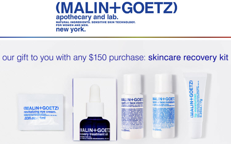 Receive a free 5-piece bonus gift with your $150 Malin+Goetz purchase
