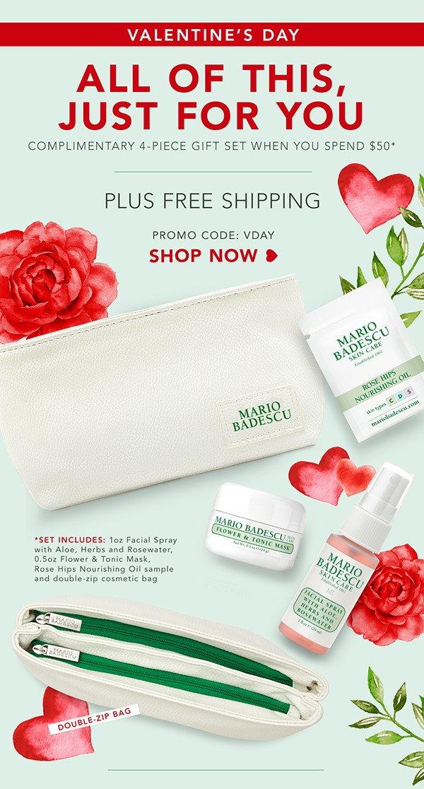 Receive a free 4- piece bonus gift with your $50 Mario Badescu purchase