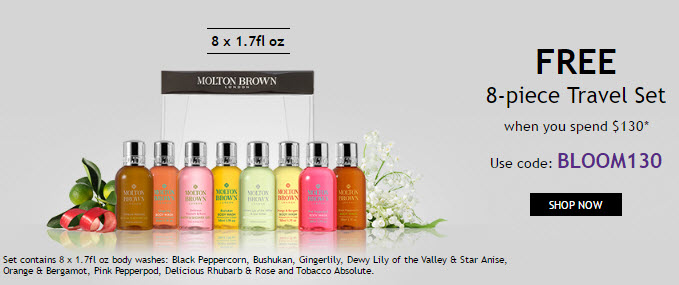 Receive a free 8-piece bonus gift with your $130 Molton Brown purchase