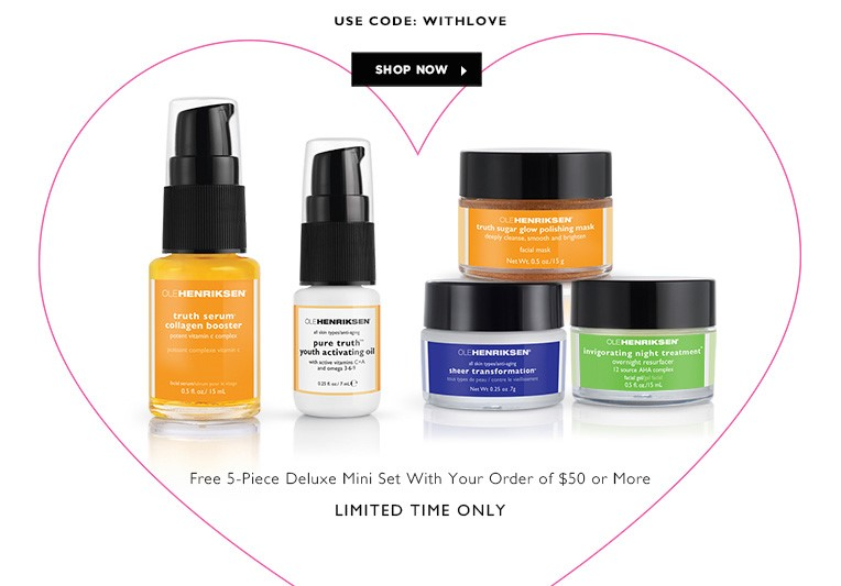 Receive a free 5-piece bonus gift with your $50 OLE HENRIKSEN purchase