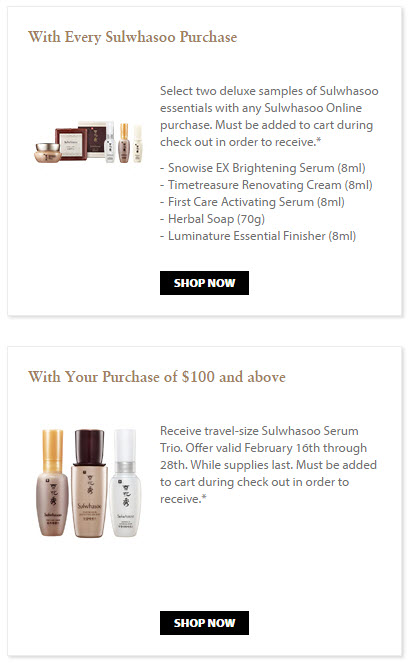 Receive your choice of 5-piece bonus gift with your $100 Sulwhasoo purchase
