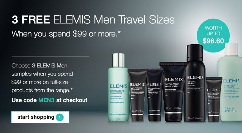 Receive a free 3-piece bonus gift with your $99 from the Men's Collection purchase