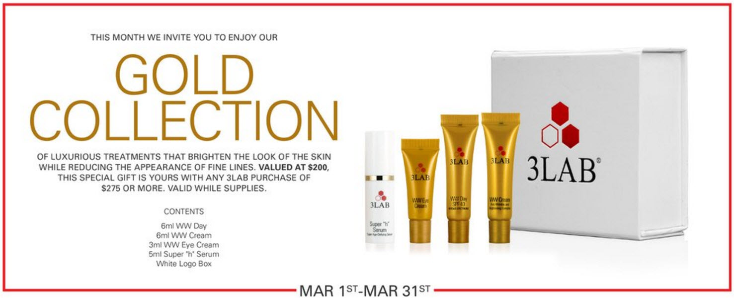 Receive a free 4-piece bonus gift with your $275 3LAB purchase