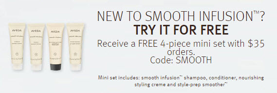Receive a free 4- piece bonus gift with your $35 Aveda purchase