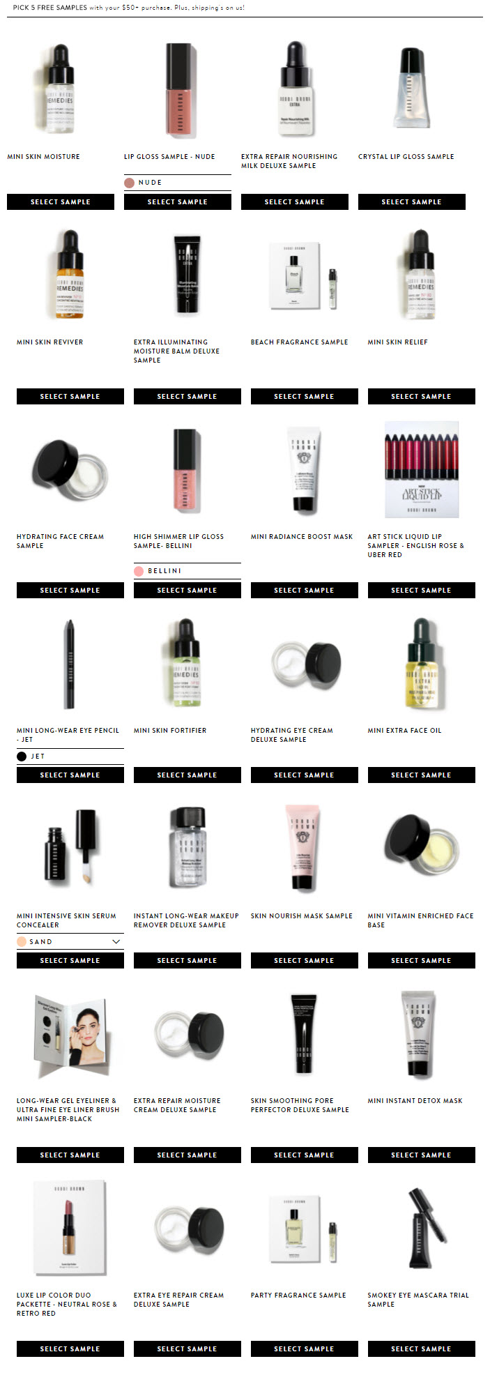 Receive your choice of 5-piece bonus gift with your $50 Bobbi Brown purchase
