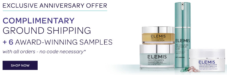 Receive a free 6-piece bonus gift with your Elemis purchase
