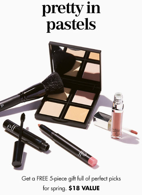 Receive a free 5-piece bonus gift with your $25 ELF Cosmetics purchase