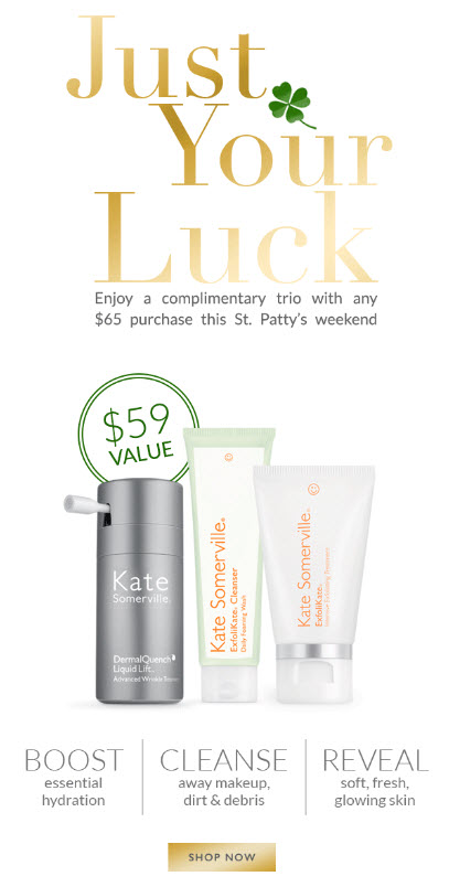 Receive a free 3-piece bonus gift with your $65 Kate Somerville purchase