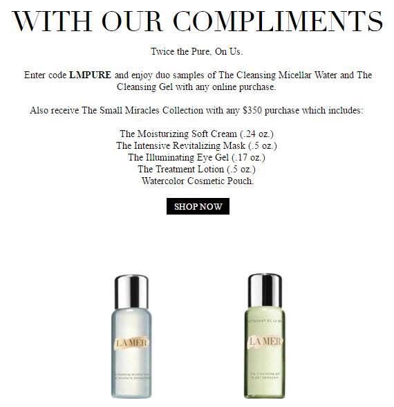 Receive a free 6- piece bonus gift with your $350 La Mer purchase