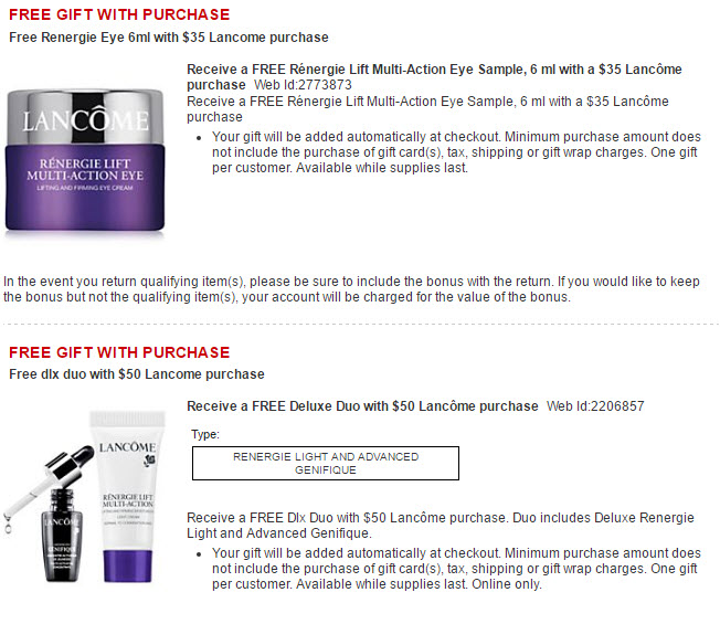 Receive a free -piece bonus gift with your $50 Lancôme purchase