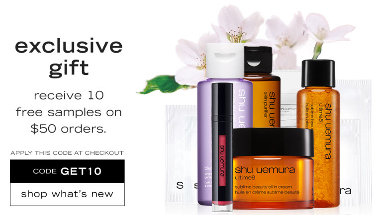 Receive a free 10- piece bonus gift with your $50 Shu Uemura purchase