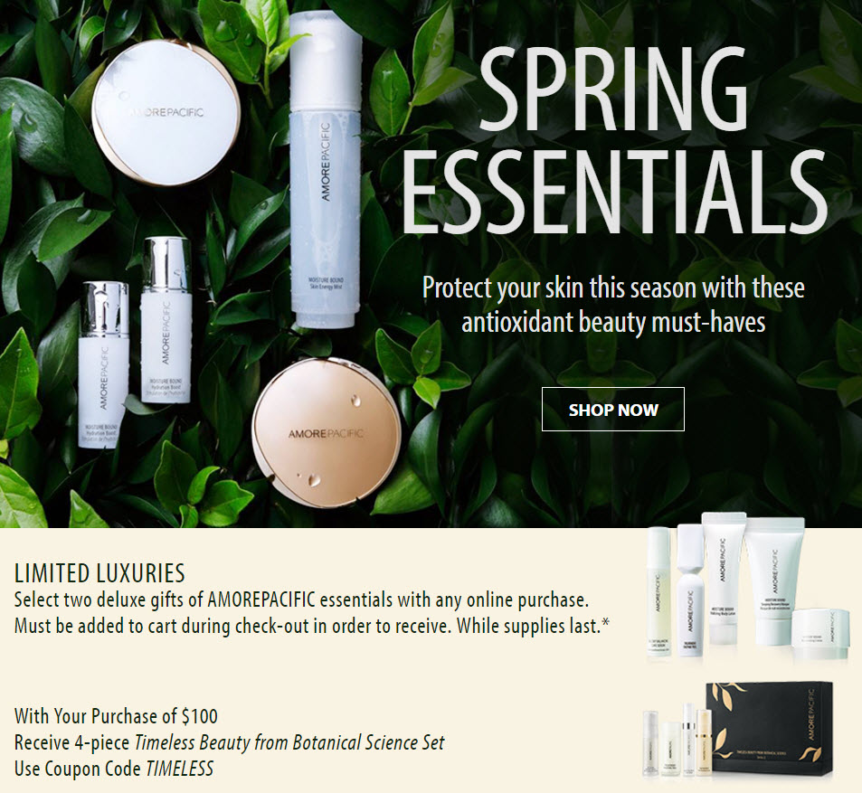 Receive your choice of 6-piece bonus gift with your $100 AMOREPACIFIC purchase