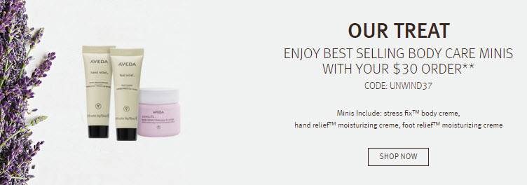 Receive a free 3-piece bonus gift with your $30 Aveda purchase
