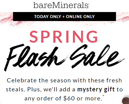 Receive a free 3-piece bonus gift with your $60 bareMinerals purchase
