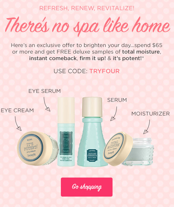 Receive a free 4-piece bonus gift with your $65 Benefit Cosmetics purchase