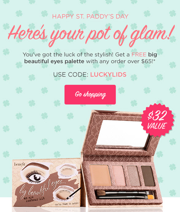 Receive a free 6-piece bonus gift with your $65 Benefit Cosmetics purchase