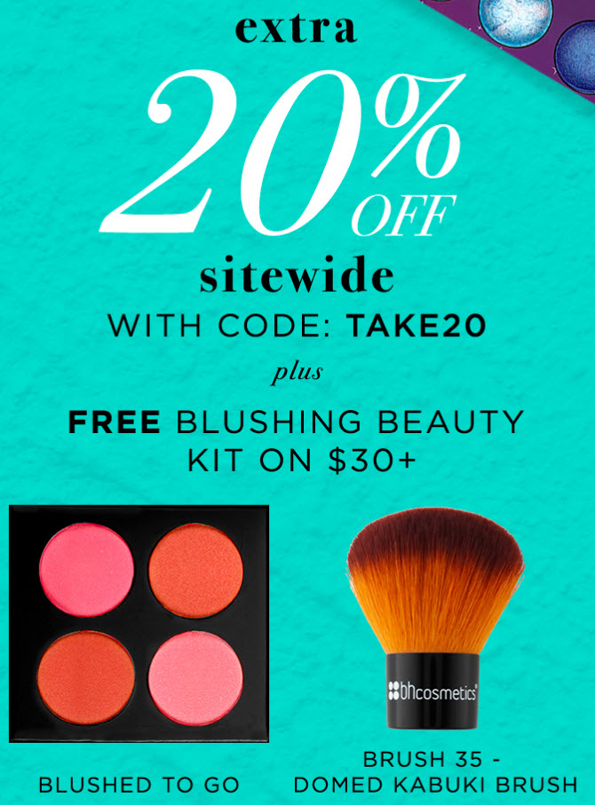 Receive a free 5- piece bonus gift with your $30 BH Cosmetics purchase