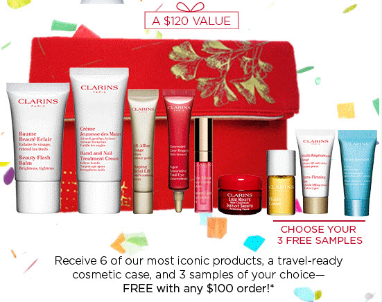 Receive a free 10-piece bonus gift with your $100 Clarins purchase