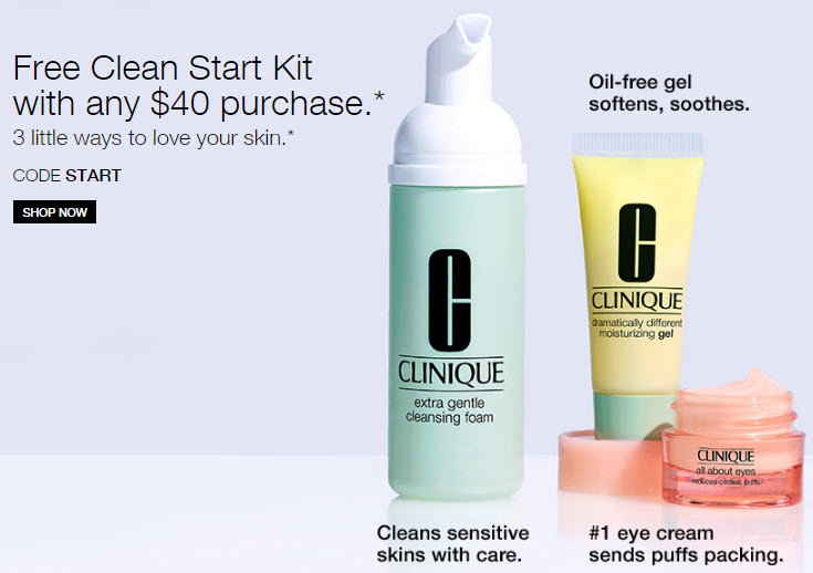 Receive a free 3-piece bonus gift with your $40 Clinique purchase